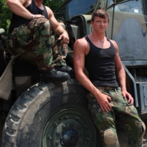 guys on the army truck